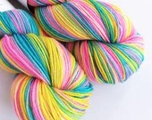 Hand dyed variegated 75/25% superwash merino/nylon sock fingering 4ply weight yarn, Lady Glitter Sparkles, pink yellow and blue sock yarn.