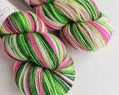 Indie dyed silver sparkle sock yarn, superwash merino/nylon/stellina sparkle sock/fingering yarn. Whoville, hot pink, greens and white yarn