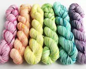 Hand dyed mini skeins. 6 ...