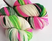Hand dyed superwash merino dk wool yarn. Variegated double knit wool yarn, Whoville, greens, hot pink, and white indie dyed DK merino yarn.