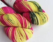 Hand dyed superwash merino dk wool yarn. Bernadette double knit wool yarn, pink, yellow, dark blue variegated indie dyed DK merino yarn.