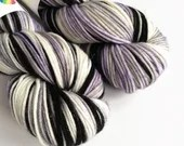 Hand dyed sparkle DK yarn, superwash merino/nylon/stellina double knit yarn, Mythic, lilac black grey white variegated dk yarn.