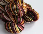 Hand dyed Christmas yarn pre-order.  Vintage Christmas colourway, variegated wool yarn, dyed to order you choose base, dark red, green, gold
