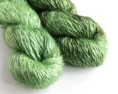 Hand dyed tonal greens kid mohair/silk/polyamide blend of 4ply/fingering weight yarn, 100g skein, leafy green yarn with silk.