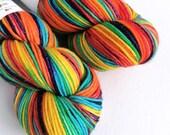 Hand dyed rainbow DK yarn, sparkle double knit, superwash merino/nylon/stellina double knit yarn, indie dyed rainbow sparkle wool yarn