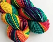Hand dyed sw merino/nylon dk wool, variegated Rainbow double knit yarn for knitting and crochet.  DK thicker sock knitting wool.