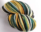 Hand dyed bamboo DK wool yarn, 80/20% superwash merino/bamboo DK yarn.  Estuary, greens, gold, black, white soft double knit wool bamboo.