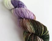 Hand dyed sparkle DK yarn, superwash merino/nylon/stellina double knit yarn, Variegated Forest Floor, brown green lilac purple dk sparkle.