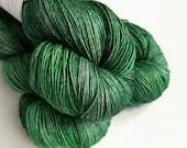 Hand dyed yarn, single ply merino/silk 4ply/fingering weight yarn. Tonal green, Minerva, knitting crochet wool, discontinued colourway.