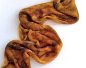 Hand dyed silk blend yarn blank, superwash merino/silk 4ply/fingering knitted blank. Autumnal orange, gold, silk blend 4ply knitting blank.