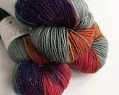 Indie dyed superwash merino/nylon/stellina sparkle sock yarn.  Hand dyed rainbow sock yarn, Dark Winter Rainbow green-grey rainbow yarn.