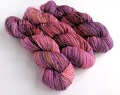 Hand dyed superwash merino dk wool yarn, Crazy 8 double knit, one of a kind pink and purple yarn with speckles, double knit merino wool yarn