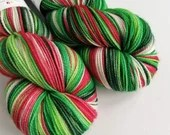 Hand dyed high twist superwash merino/nylon sock/fingering/4ply yarn. Variegated Christmas yarn, red, green and white, Holly Jolly Christmas