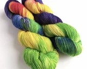 Hand dyed yarn, singles superwash merino/sparkle wool yarn, Sheep Are Never Safe, sparkly soft sock/4ply/fingering weight, knitting, crochet