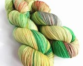 Hand dyed fingering weight yarn, high twist superwash merino 4ply, variegated 4ply yarn,  100% merino wool. Frog lips, greens and red yarn.
