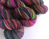 Hand dyed British wool sock yarn, sw Exmoor Blueface/Corriedale/Zwartbles/nylon 4ply/fingering wool. Illusions of Colour, black rainbow