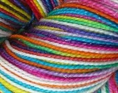 Hand dyed yarn pre-order.  Variegated rainbow yarn dyed to order - choose your own yarn, rainbow yarn with pink and white.