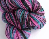 Hand dyed yarn, 100g of silver sparkle sock yarn, superwash merino/lurex 4ply/fingering. I've Never Seen GOT - pink, purple, blue and black.
