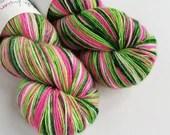 Hand dyed yarn, singles superwash merino 4ply wool yarn, variegated pink, greens and white fingering yarn, knitting, crochet, indie dyed