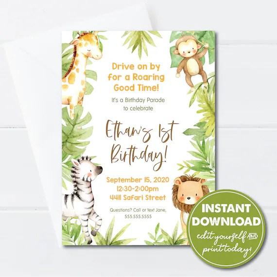 editable 1st birthday jungle drive by