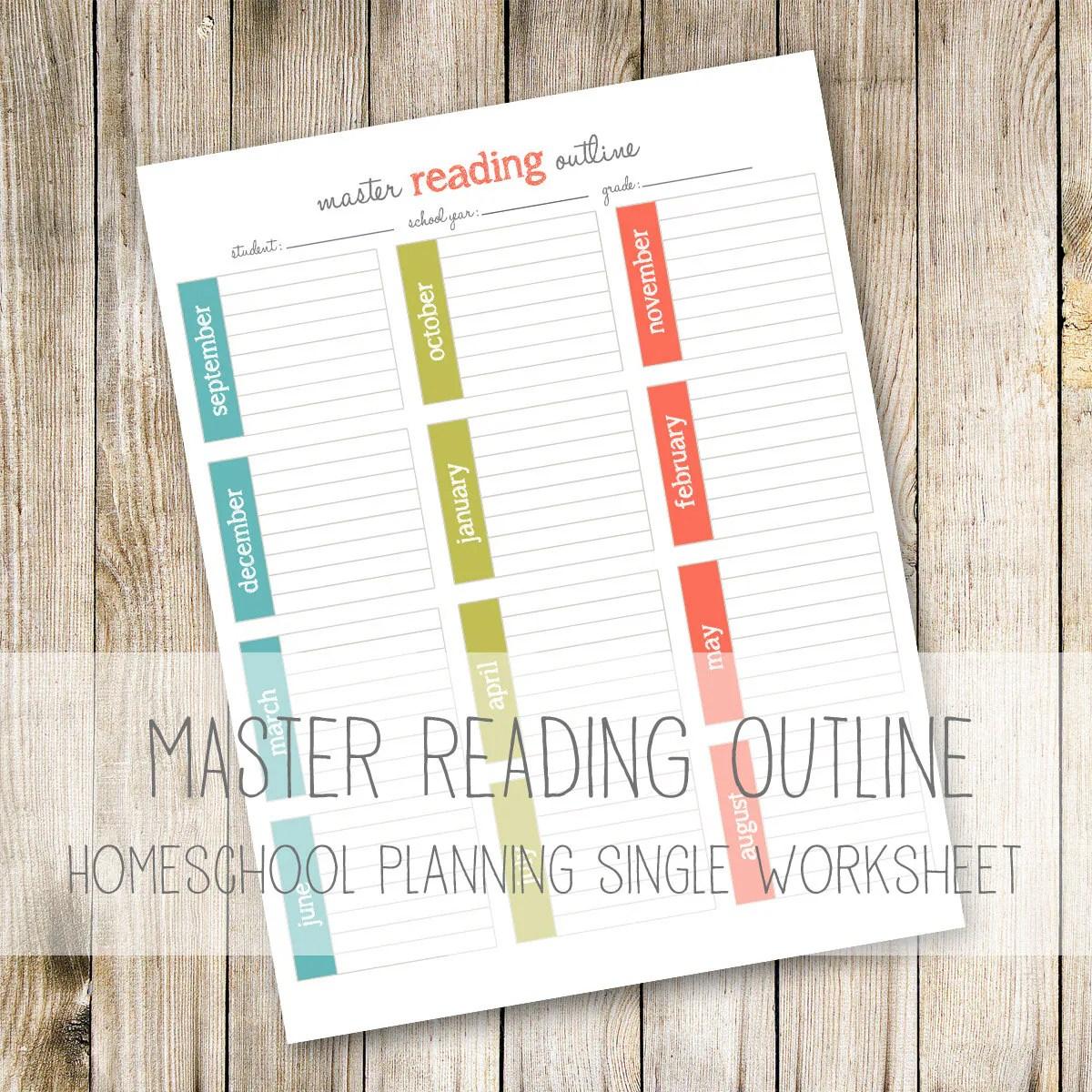 Master Reading Outline Homeschool Planner Worksheets