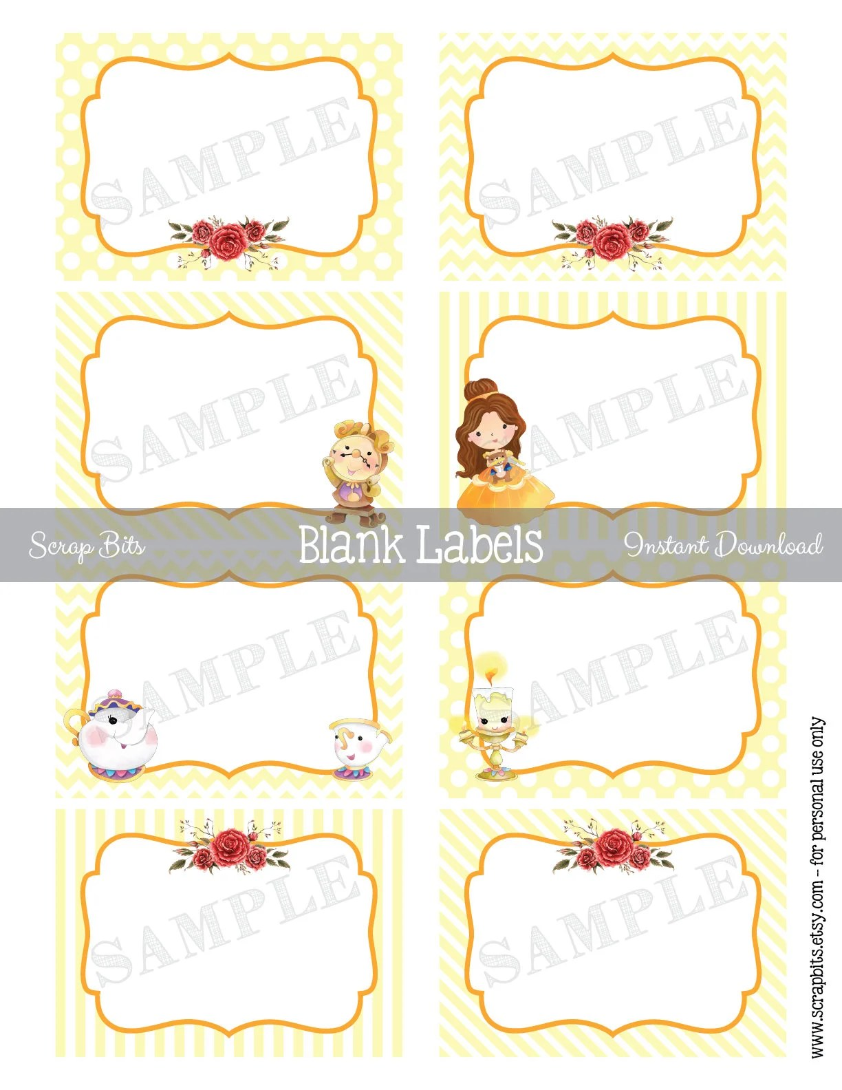 Instant Download Printable Beauty And The Beast Labels