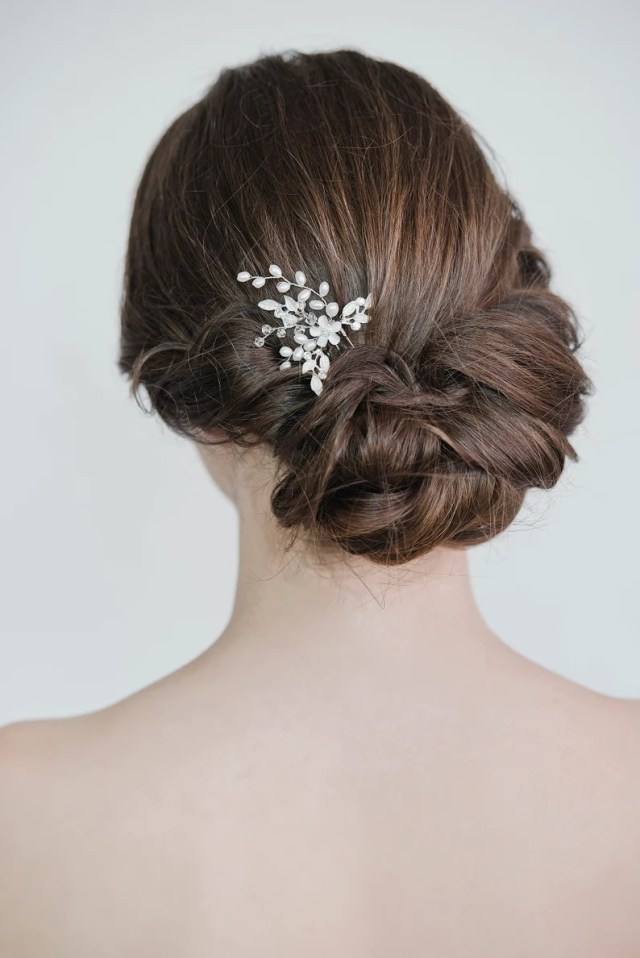 silver crystal pearl wedding hair pins, gold wedding hair pins crystal & pearl, floral braut hair pins