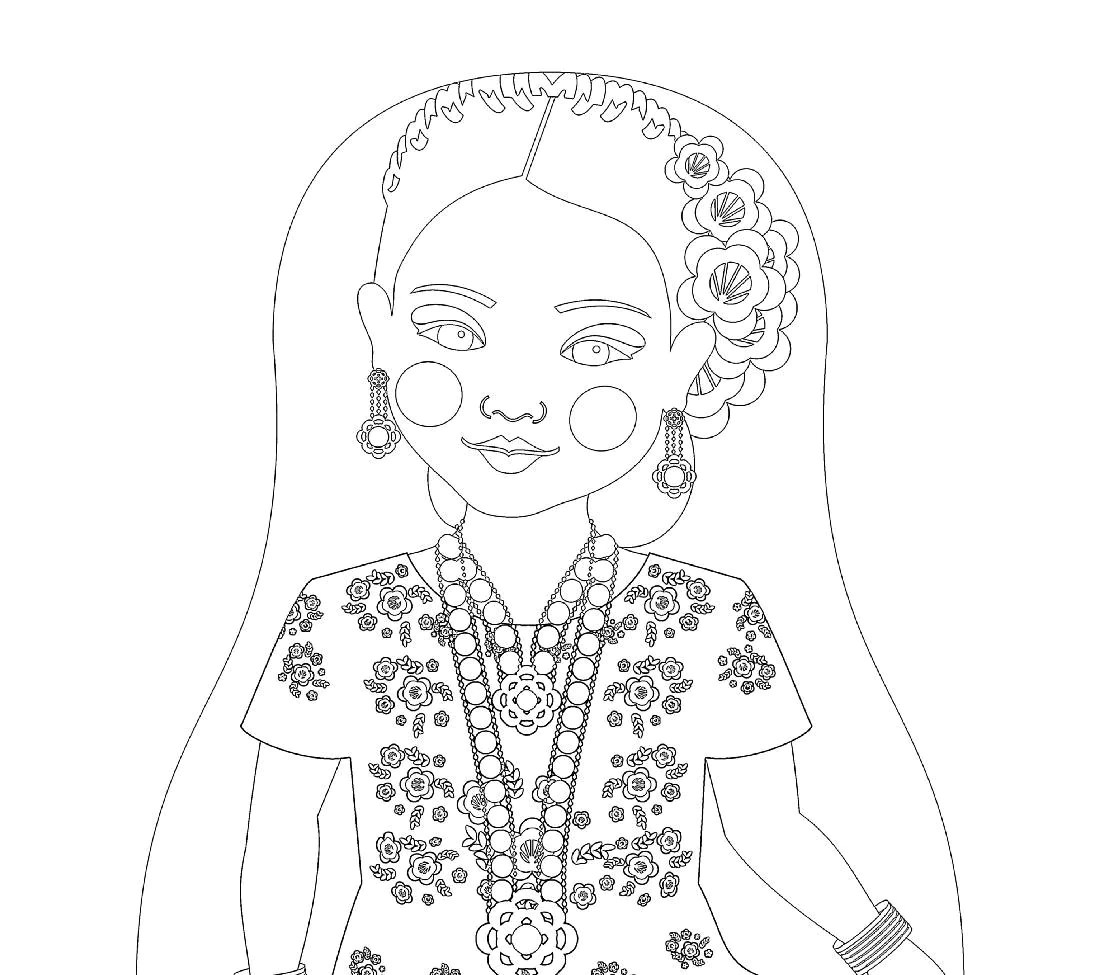 Mexican Tehuana Doll Traditional Dress Coloring Sheet