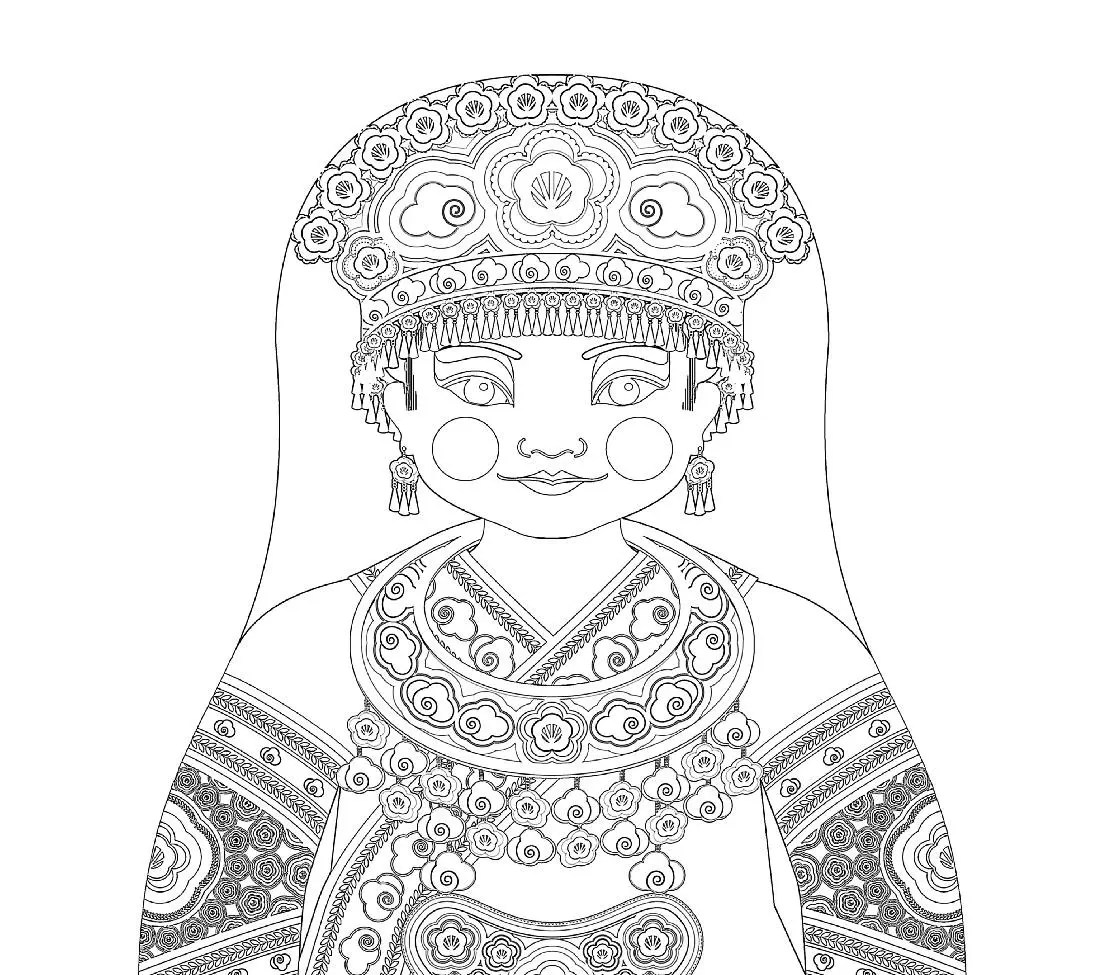 Miao Chinese Doll Traditional Folk Dress Coloring Sheet