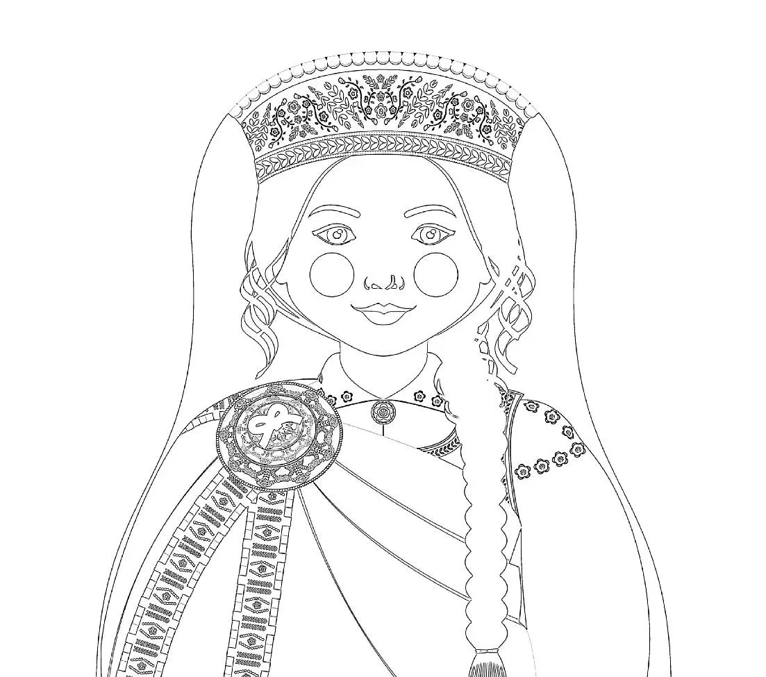 Latvian Doll Traditional Dress Coloring Page Printable Matryoshka