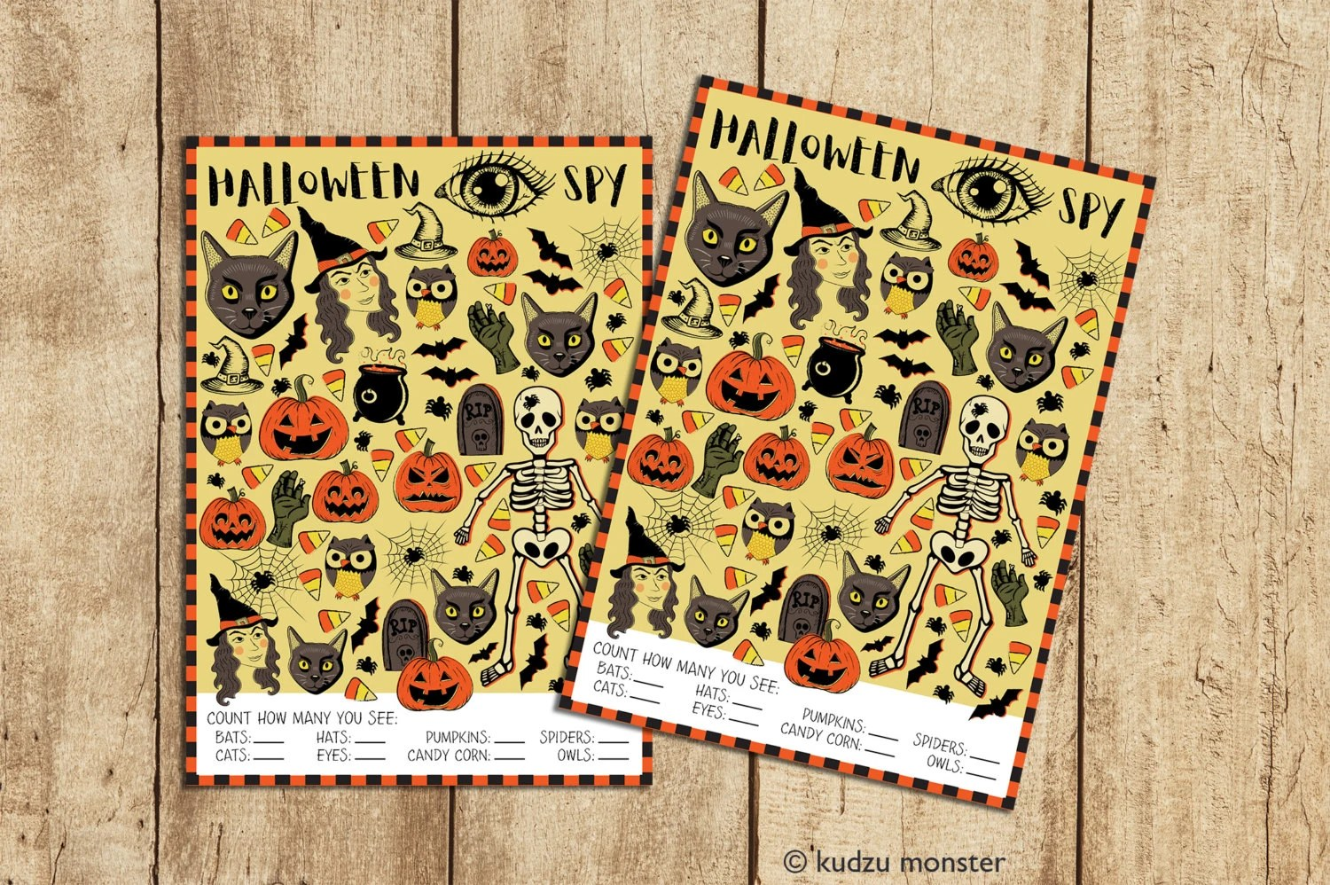 Printable Halloween I Spy Activity Game With Vintage Style