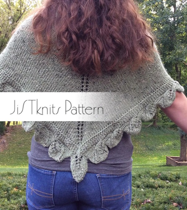 Turning Leaves Poncho Shawl Knitting Pattern, Knit Shawl Pattern, Knit Poncho pattern, knit leaves, scalloped leaf shawl, multi-directional