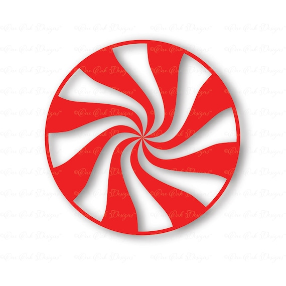 Peppermint Swirl Christmas Candy SVG DXF PNG Cut File For