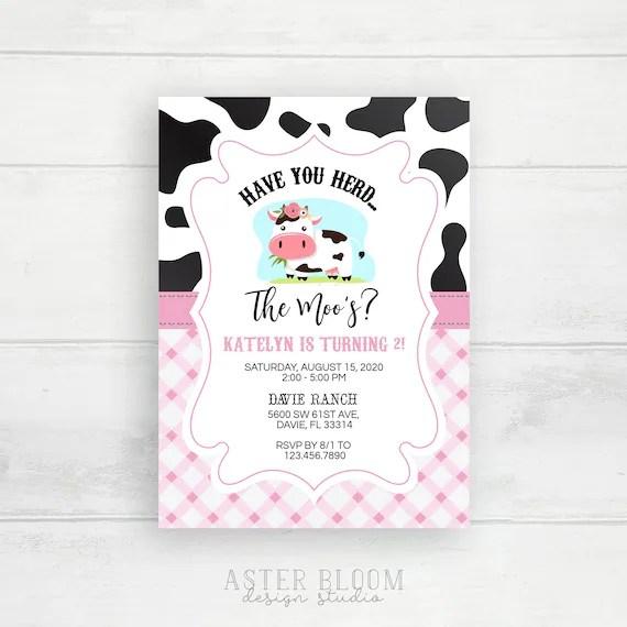 cow birthday invitation pink farm