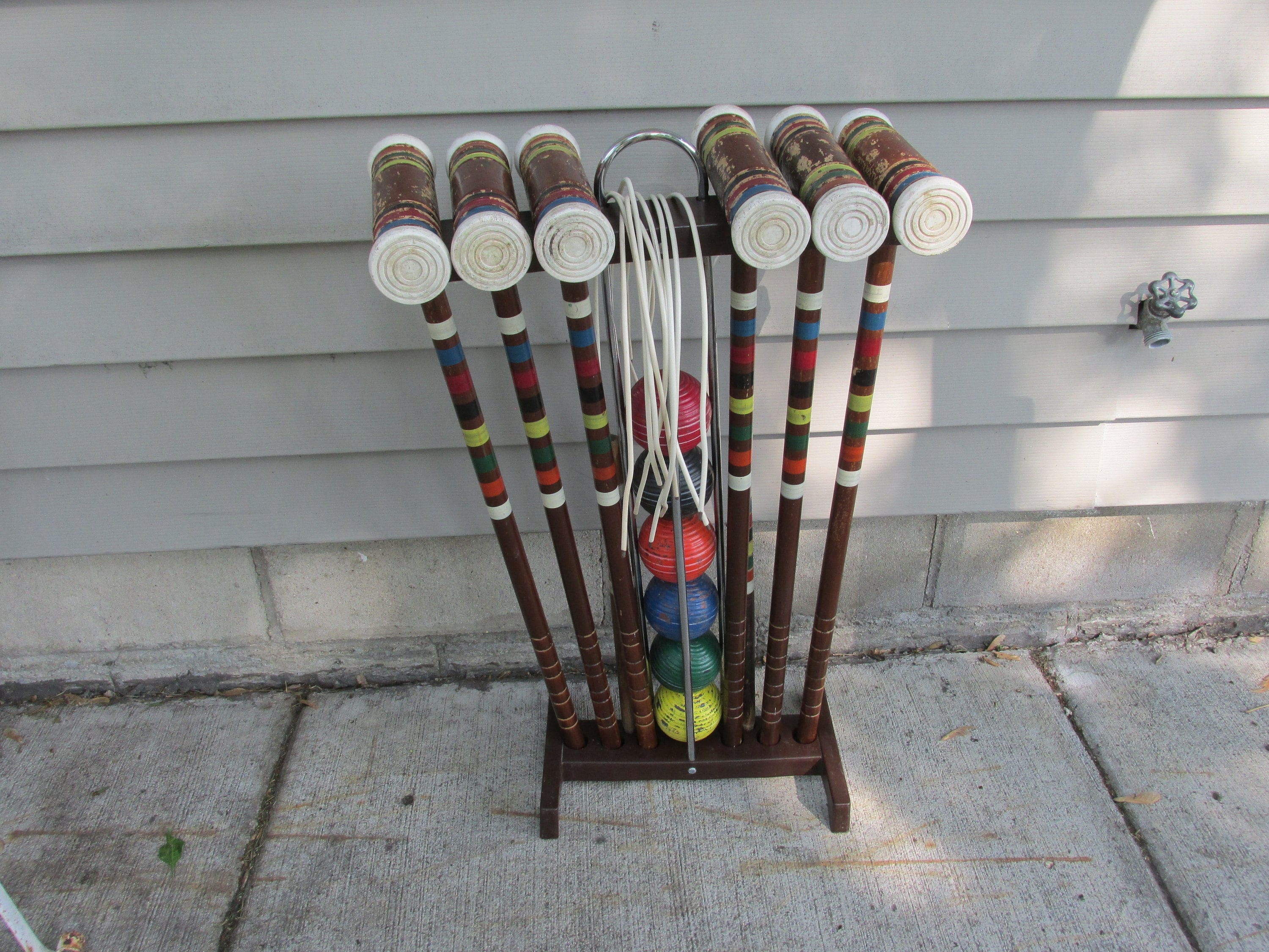 Wood Croquet Set With Stand 6 Vintage Mallets 6 Balls And