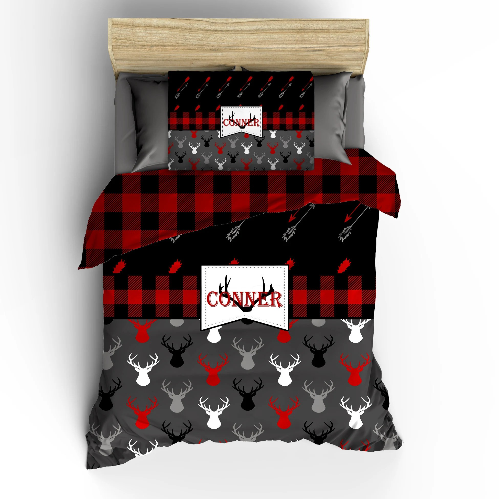 custom red black buffalo plaid and deer heads reversible comforter bedding polyester sateen tw full queen or king size