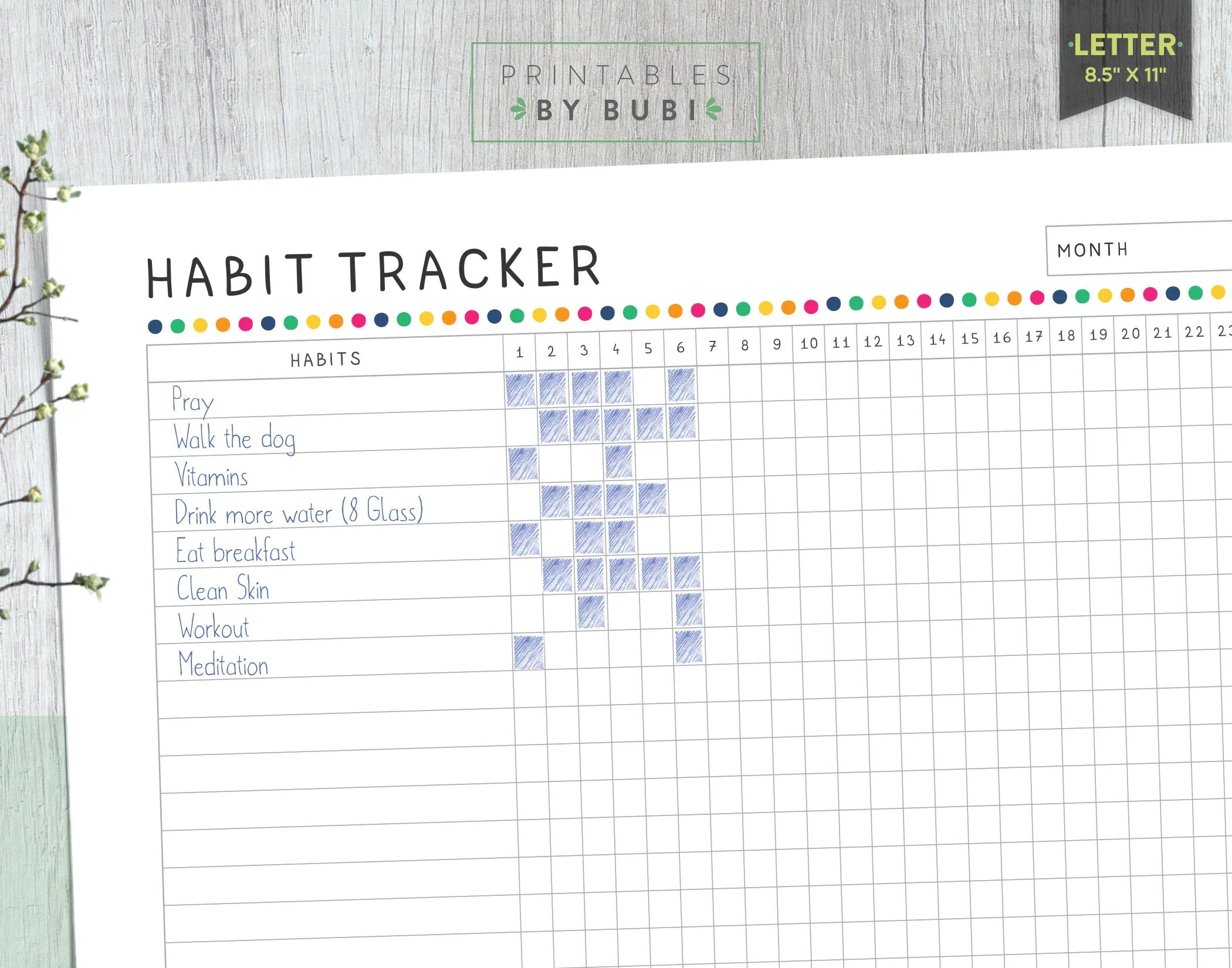 Habit Tracker Goal Tracker 30 Day Challenge Healthy Habits