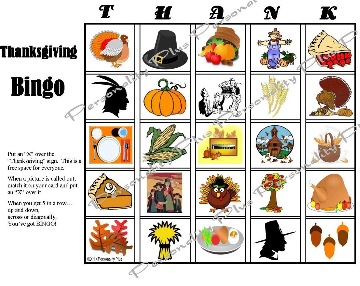 Printable Thanksgiving Bingo And Indoor Scavenger Hunt