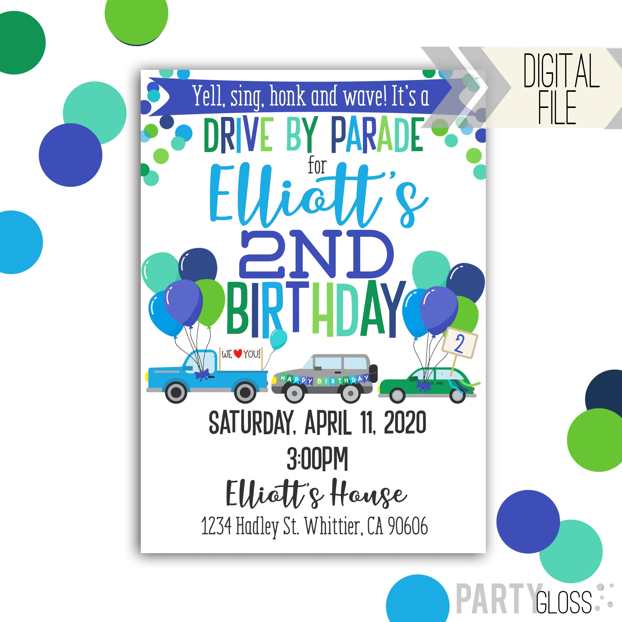 drive by birthday parade invitation digital invitation parade birthday drive by birthday party parade invitation vertical invite