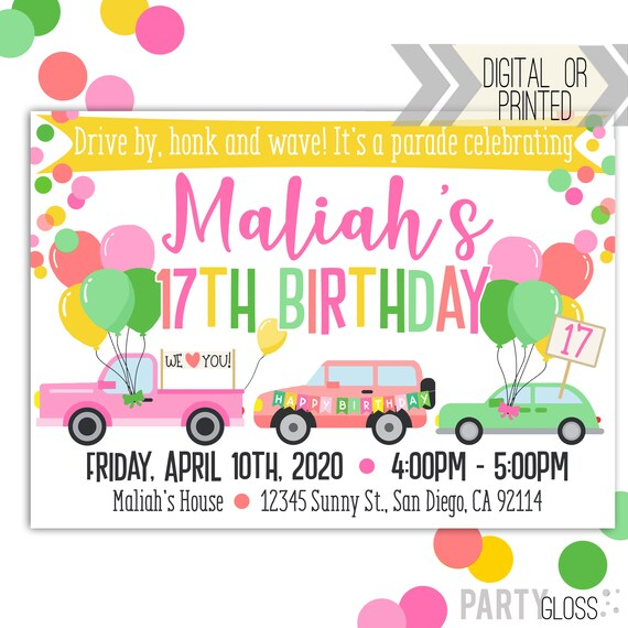 drive by birthday parade invitation digital invitation parade birthday drive by birthday party parade invitation girl colors