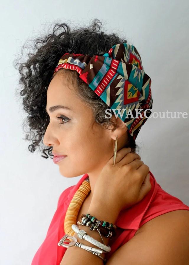satin lined headband for natural curly hair, wide headband wrap, messy bun wrap, african print wrap turban - boho aztec or choose print