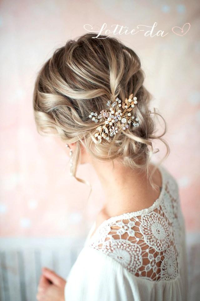 gold boho hair vine comb, bridal pearl flower hair comb, wedding hair vine wedding pearl hair comb, boho wedding headpiece - 'zara'