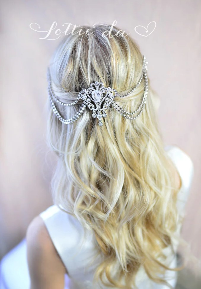 wedding hair accessory, bridal hair comb, vintage style bridal hair accessory, boho, grecian, hair chain, crystal comb - 'victoria'
