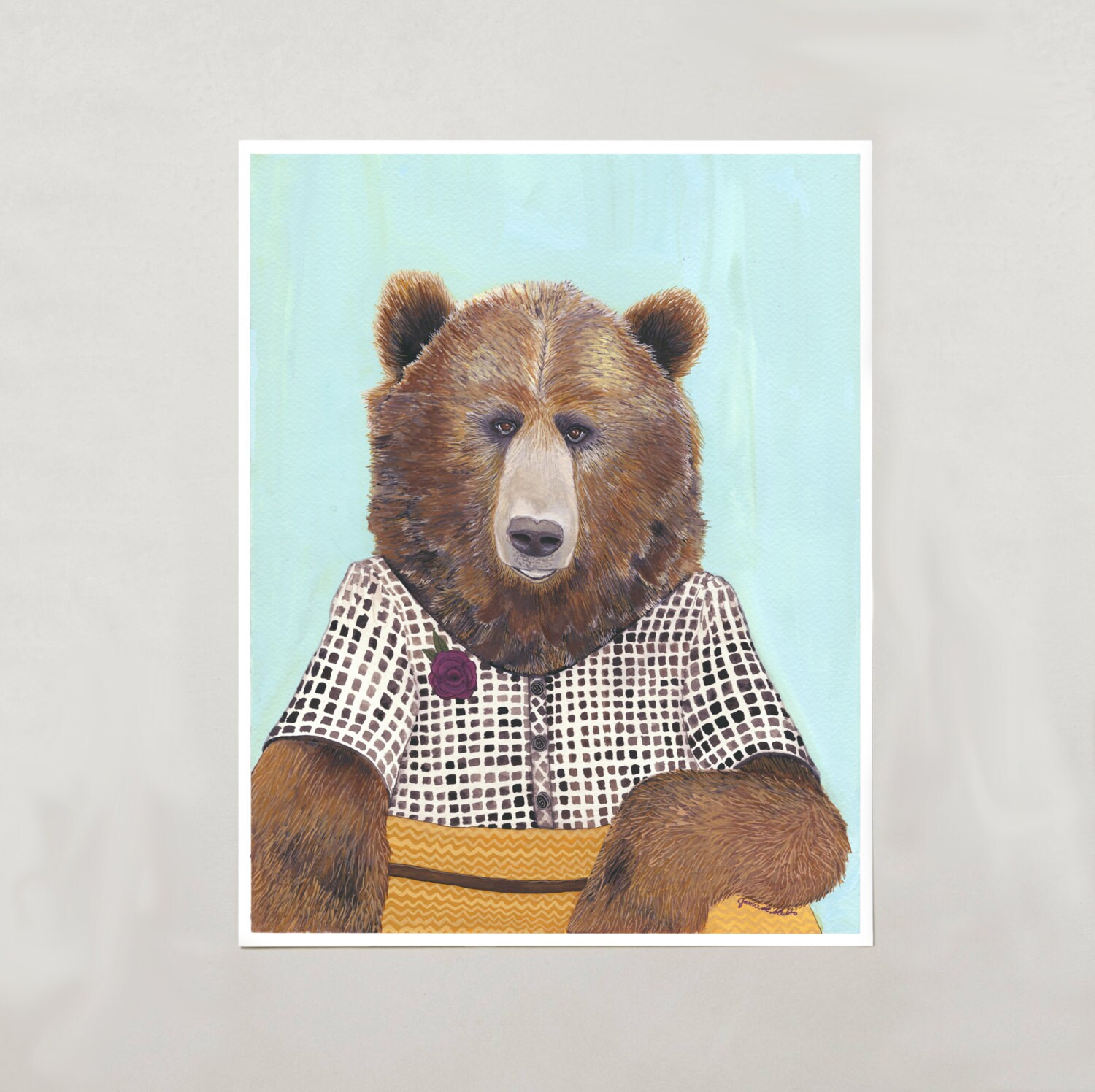 Art Print Grizzly Bear Signed By Artist 3 Sizes S M L