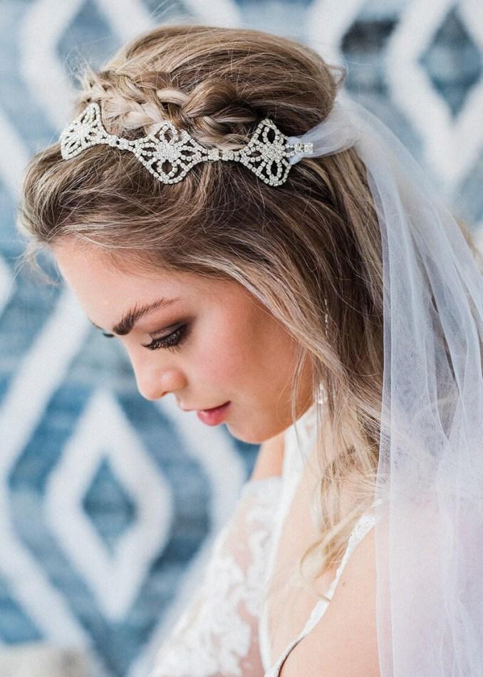 ciara bohemian bridal headpiece, bridal headband veil, boho wedding veil, crystal headpiece, boho veil, wedding headpiece, bridal veil