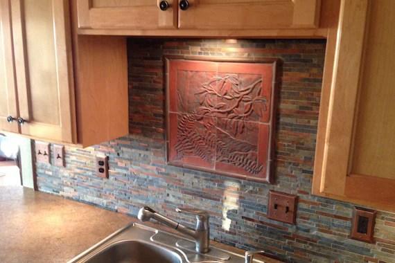 craftsman style carved tile woodland scene for backsplash etsy
