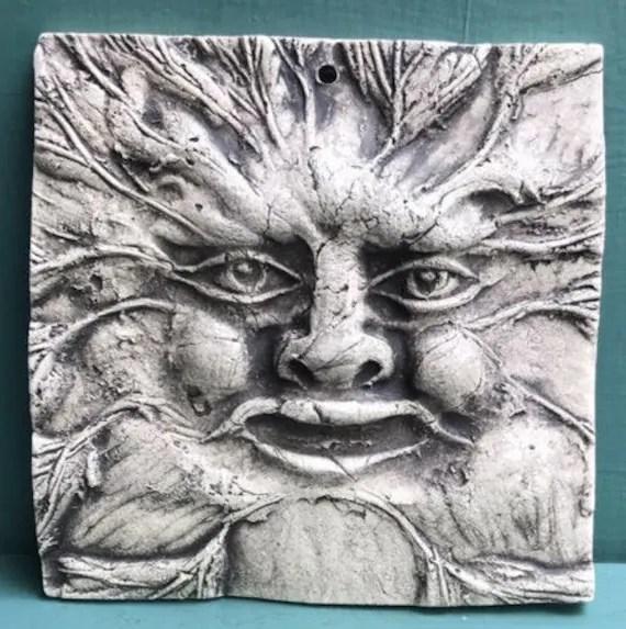 green man ceramic 4x4 pottery porcelain relief tile etsy