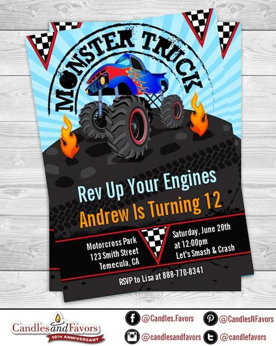 monster truck birthday party invitation
