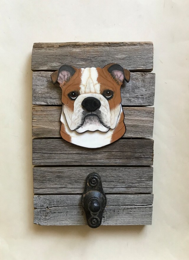 bulldog leash hanger dog portrait dog accessories dog art | etsy