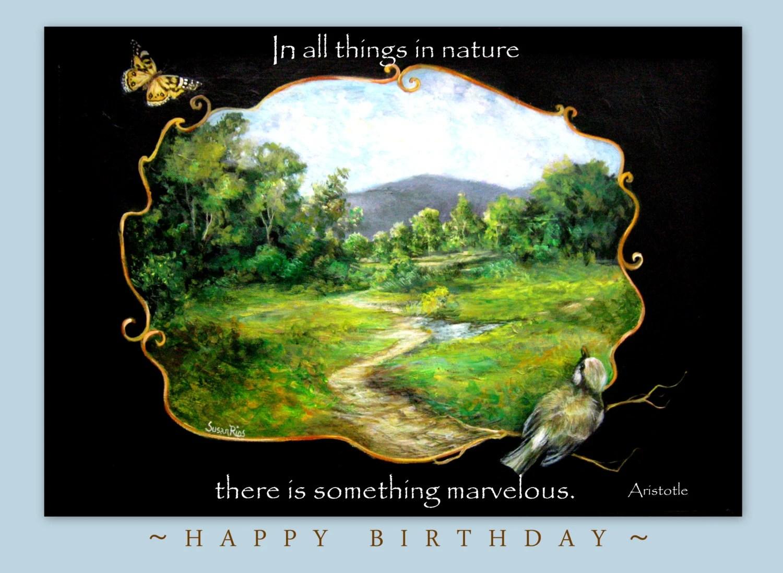 Happy Birthday Nature And Bird Card Etsy